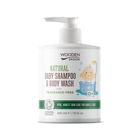 Wooden Spoon Natural - Baba sampon és tusfürdő - illatmentes (300 ml)